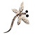 Silver Plated Filigree Crystal Dragonfly Costume Brooch
