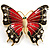 Oversized Gold Red Enamel Butterfly Brooch - view 1