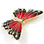 Oversized Gold Red Enamel Butterfly Brooch - view 2