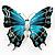 Oversized Silver Teal Enamel Butterfly Brooch