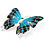 Oversized Silver Teal Enamel Butterfly Brooch - view 2