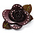 Contemporary Burgundy Plastic Rose Brooch