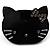 Little Kitty Plastic Brooch (Black)