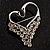 Swan Heart Crystal Brooch (Clear Crystal) - view 3