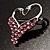 Swan Heart Crystal Brooch (Fuchsia) - view 4