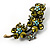 Vintage Olive Green Floral Brooch (Antique Gold) - view 4