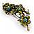 Vintage Olive Green Floral Brooch (Antique Gold) - view 2