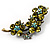 Vintage Olive Green Floral Brooch (Antique Gold) - view 1