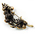 Vintage Olive Green Floral Brooch (Antique Gold) - view 5