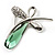 Contemporary Crystal Butterfly Brooch (Green&Clear) - view 3