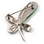 Contemporary Crystal Butterfly Brooch (Green&Clear) - view 7