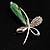 Contemporary Crystal Butterfly Brooch (Green&Clear) - view 4