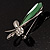 Contemporary Crystal Butterfly Brooch (Green&Clear) - view 6