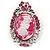 Rhodium Plated Pink Crystal Cameo Brooch