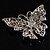 Clear Crystal Filigree Butterfly Brooch - view 4