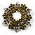 Olive Green Crystal Wreath Brooch