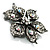 Sparkling Clear Crystal Flower Brooch (Black Tone) - view 3