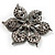 Sparkling Clear Crystal Flower Brooch (Black Tone) - view 6