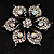 Sparkling Clear Crystal Flower Brooch (Black Tone) - view 2