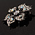 Sparkling Clear Crystal Flower Brooch (Black Tone) - view 5