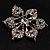 Sparkling Clear Crystal Flower Brooch (Black Tone) - view 7