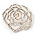 Oversized Clear Crystal Rose Brooch - view 2