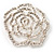 Oversized Clear Crystal Rose Brooch - view 7