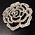 Oversized Clear Crystal Rose Brooch - view 9