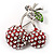Clear Crystal Red Double Cherry Fashion Brooch - view 1