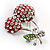 Clear Crystal Red Double Cherry Fashion Brooch - view 4
