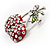 Clear Crystal Red Double Cherry Fashion Brooch - view 6