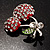 Clear Crystal Red Double Cherry Fashion Brooch - view 9