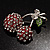 Clear Crystal Red Double Cherry Fashion Brooch - view 3