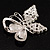 Unique Faux Pearl Crystal Butterfly Brooch - view 2