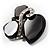 Black Glass Art Deco Fashion Brooch (Black Tone) - view 3