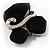 Black Glass Art Deco Fashion Brooch (Black Tone) - view 4