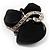 Black Glass Art Deco Fashion Brooch (Black Tone) - view 5