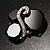 Black Glass Art Deco Fashion Brooch (Black Tone) - view 2
