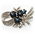 Stunning Bow Corasge Crystal Brooch (Clear&Navy Blue)