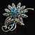 Light Blue Crystal Floral Brooch (Silver Tone)