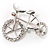 Rhodium Plated Crystal Bicycle Brooch - view 8