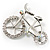 Rhodium Plated Crystal Bicycle Brooch - view 3