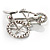 Rhodium Plated Crystal Bicycle Brooch - view 9