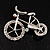 Rhodium Plated Crystal Bicycle Brooch - view 2