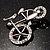 Rhodium Plated Crystal Bicycle Brooch - view 7