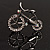 Rhodium Plated Crystal Bicycle Brooch - view 1