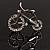 Rhodium Plated Crystal Bicycle Brooch