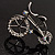 Rhodium Plated Crystal Bicycle Brooch - view 5