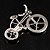 Rhodium Plated Crystal Bicycle Brooch - view 6