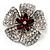 5 Petal Crystal Flower Brooch (Red&Clear)